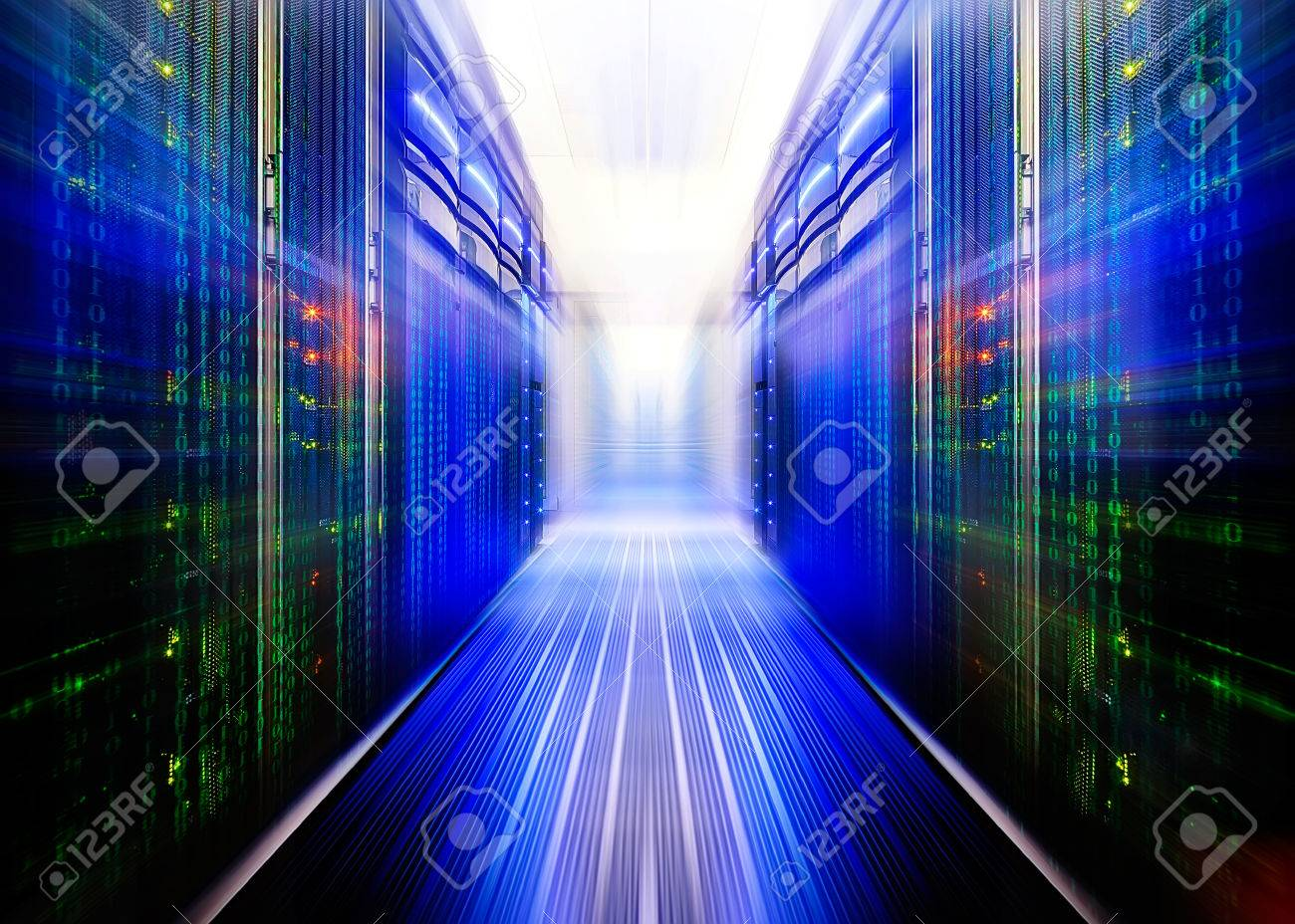 symmetrical data center room with futuristic beams and rows equipment - 57735268