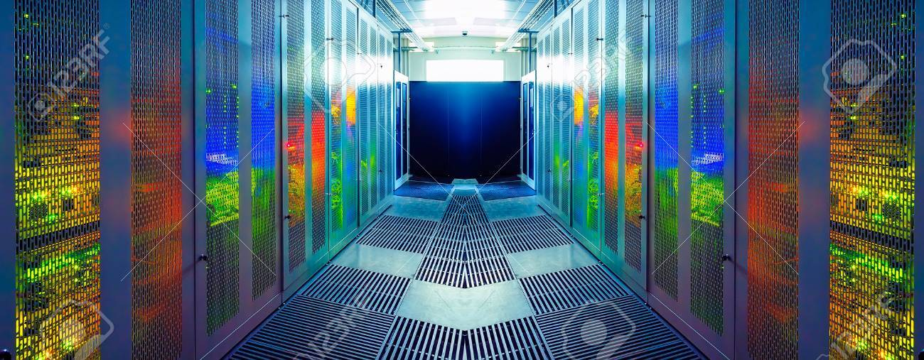 symmetric server room with modern communication and server equipment - 57738391