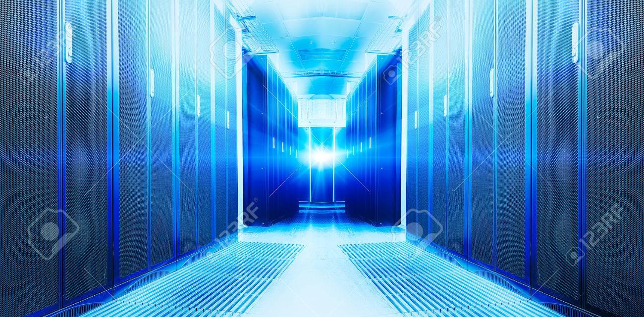 futuristic modern server room in the data center - 57740488