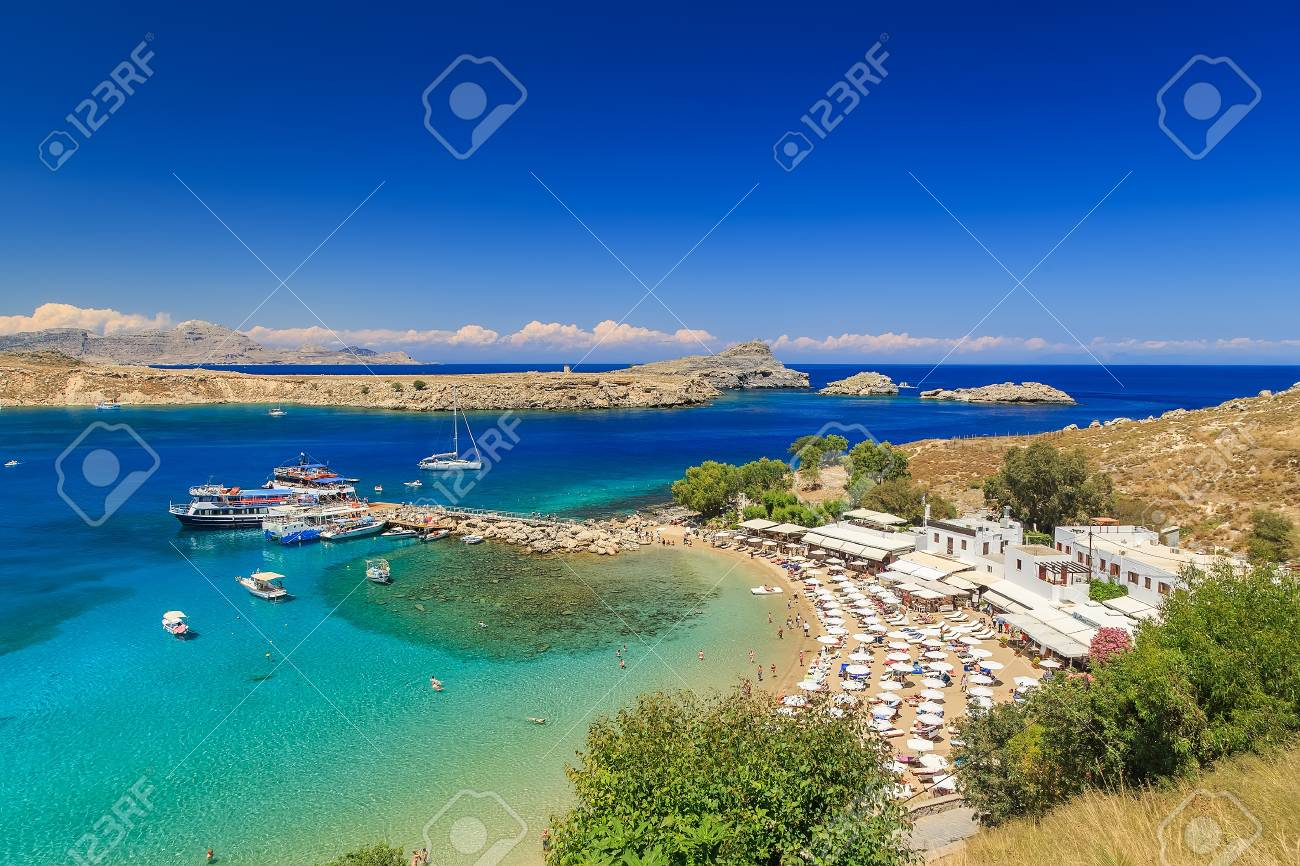 Lindos beautiful bay view from above sunny bright day Rhodes - 58829645
