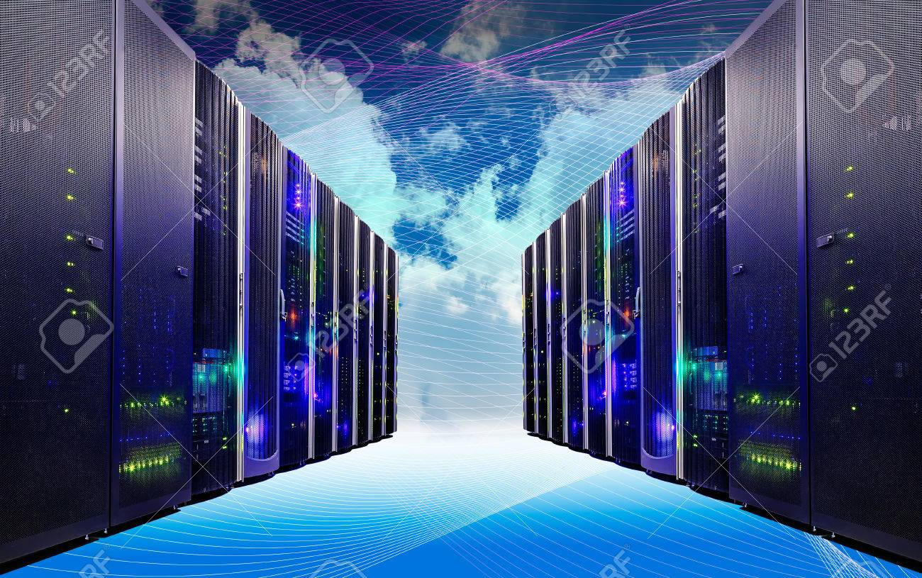 Cloud and sky overlay with servers computing technology in datacenter creative cloud concept - 67230884