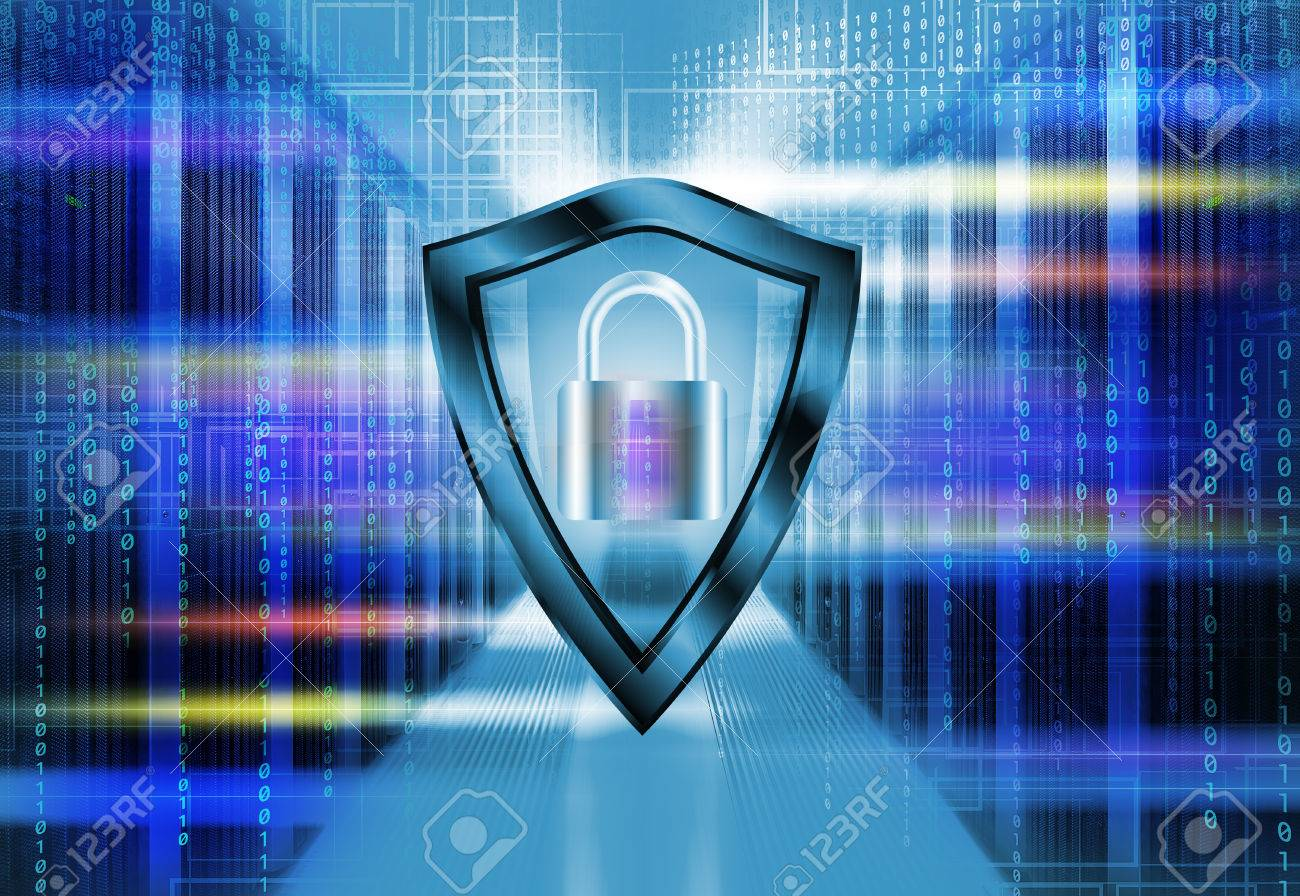 Server room in data with a binary code penetrating. Protection Safety Security Concept with shield and padlock. - 74206015