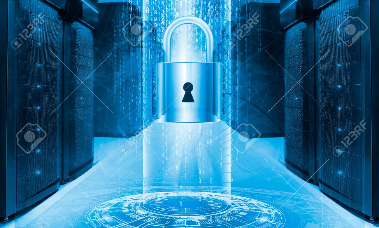 Server data protection concept. Database insurance. Safety of information from virus cyber - 75864777