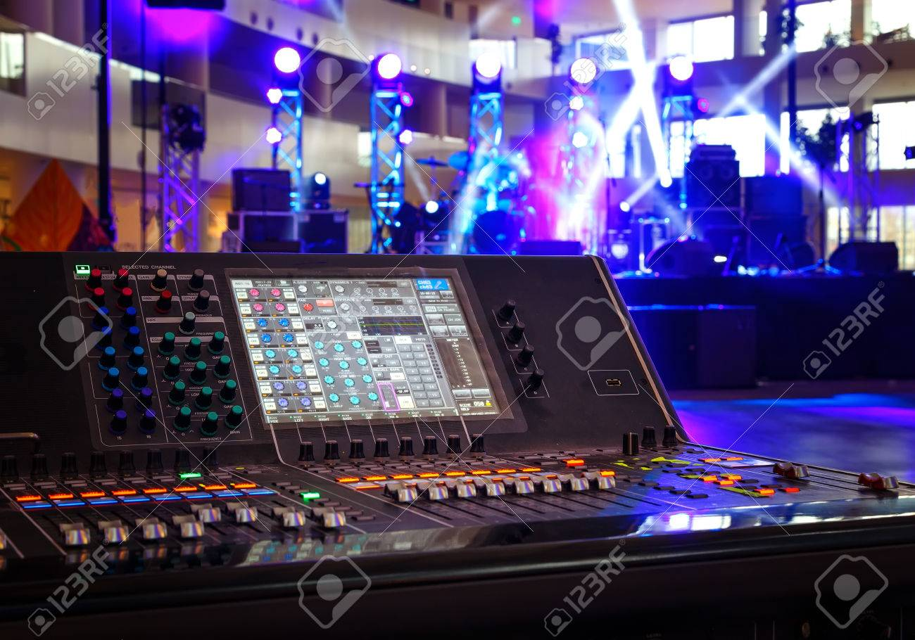 Working sound control panel on background of stage - 76575455