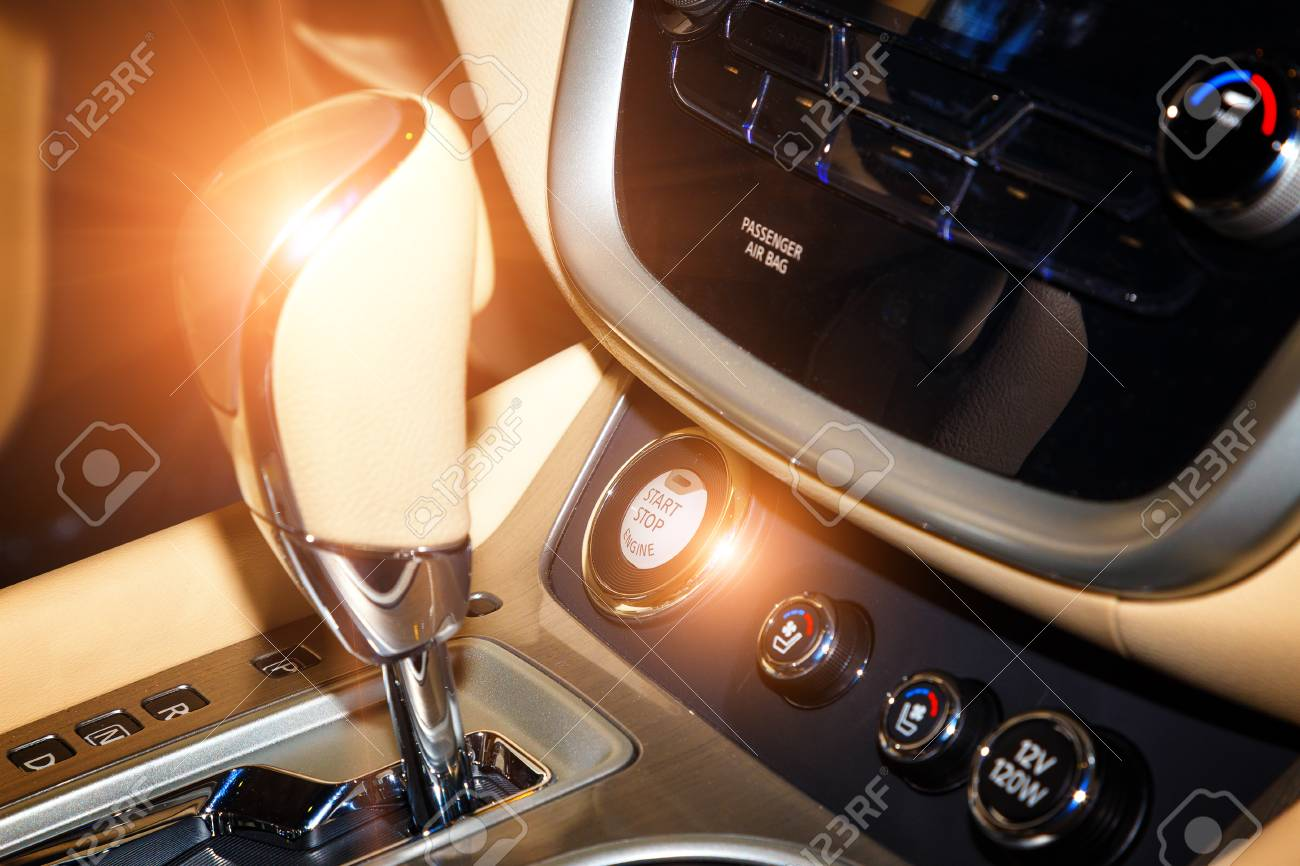 How To Start A Stick Shift >> Detail Of Modern Car Interior Gear Stick Button Start Stop