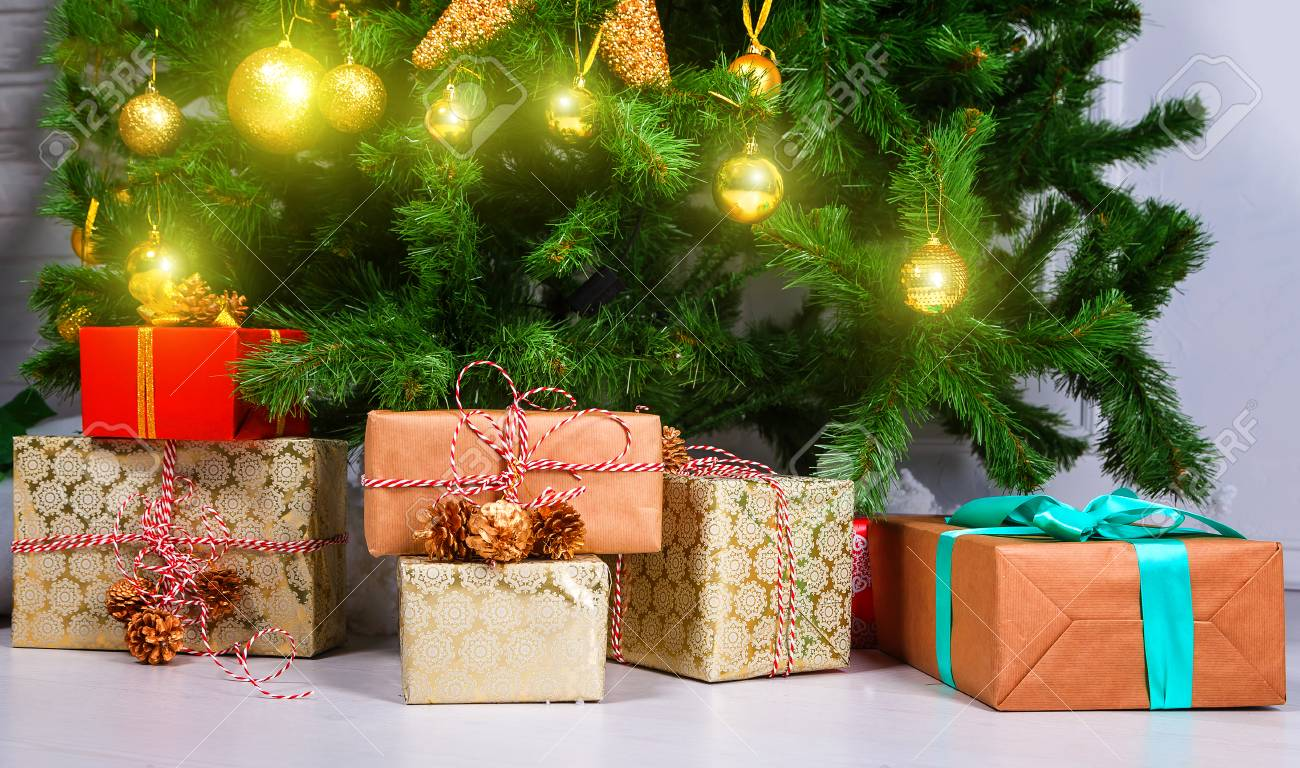Presents Under Christmas Tree In Living Room Family Holiday Stock
