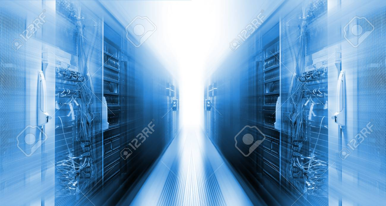 futuristic data center with rows supercomputers motion - 107364600