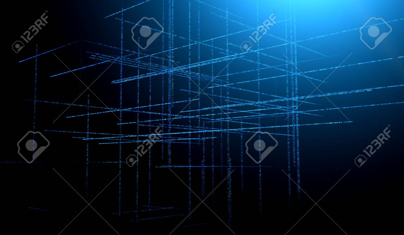 Abstract blue toned background element on black. Composition of grids matrix patterns. Detailed fractal graphics. Information technology concept. - 114418009