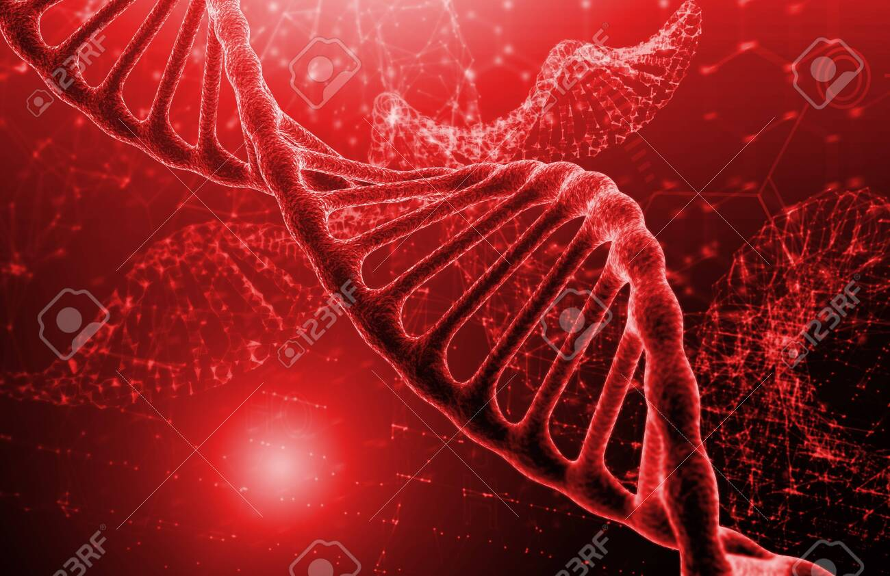 DNA molecule structure on red texture background. Biochemistry concept - 124446330