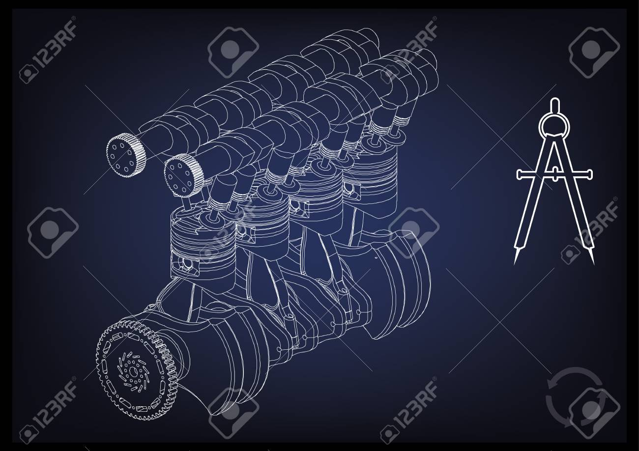 Machine building drawing  The car engine on a blue background