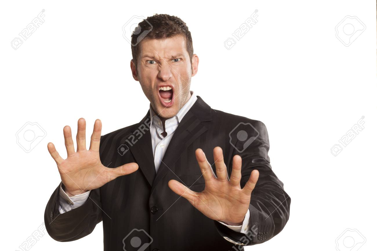 serious and angry businessman with stop placed hands on white background Stock Photo - 17759443