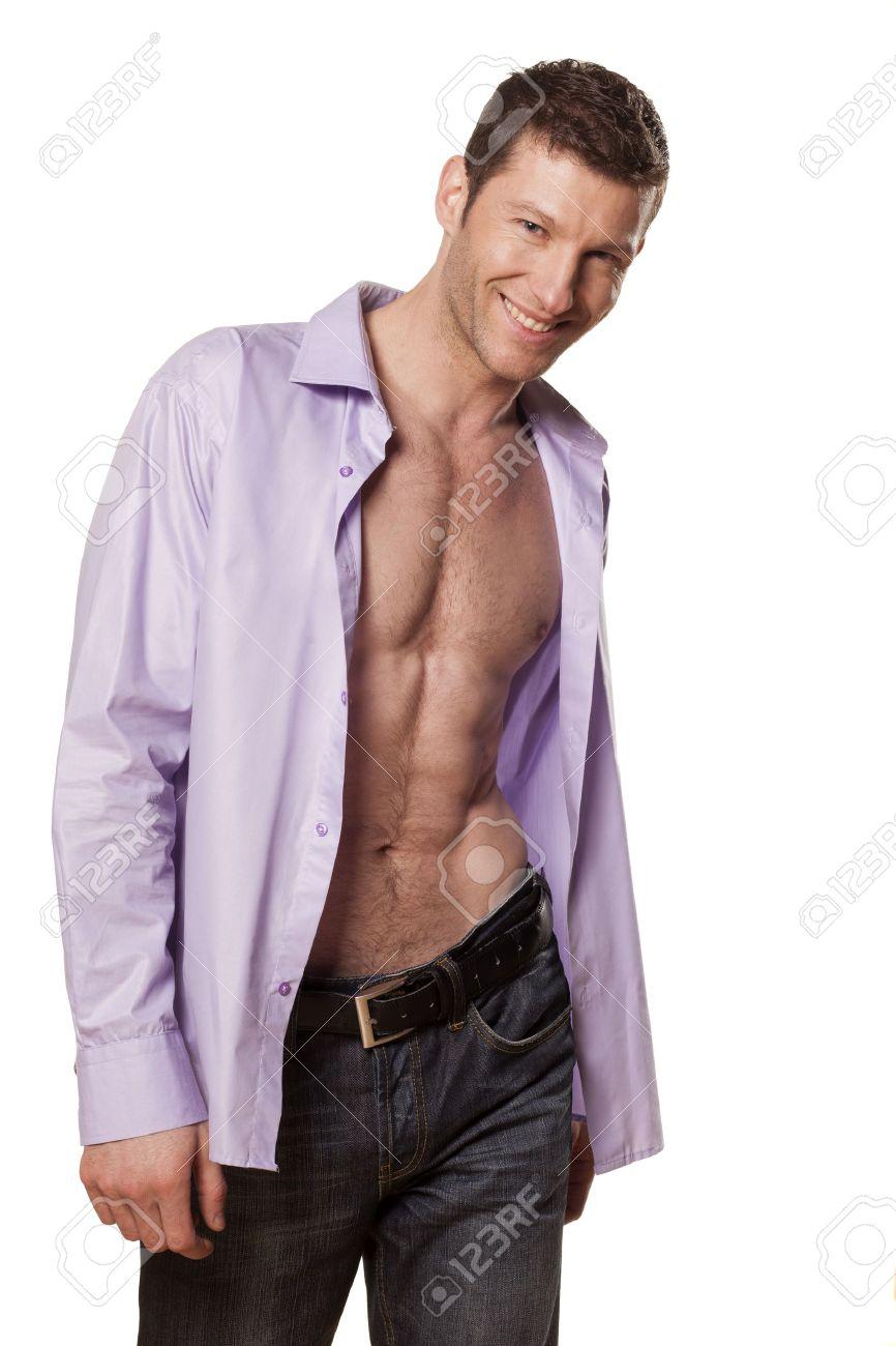 una archivo con sonrisa y una camisa Apuesto atlético blanco de hombre fondo abierta sobre Foto 4xq1w61tBf