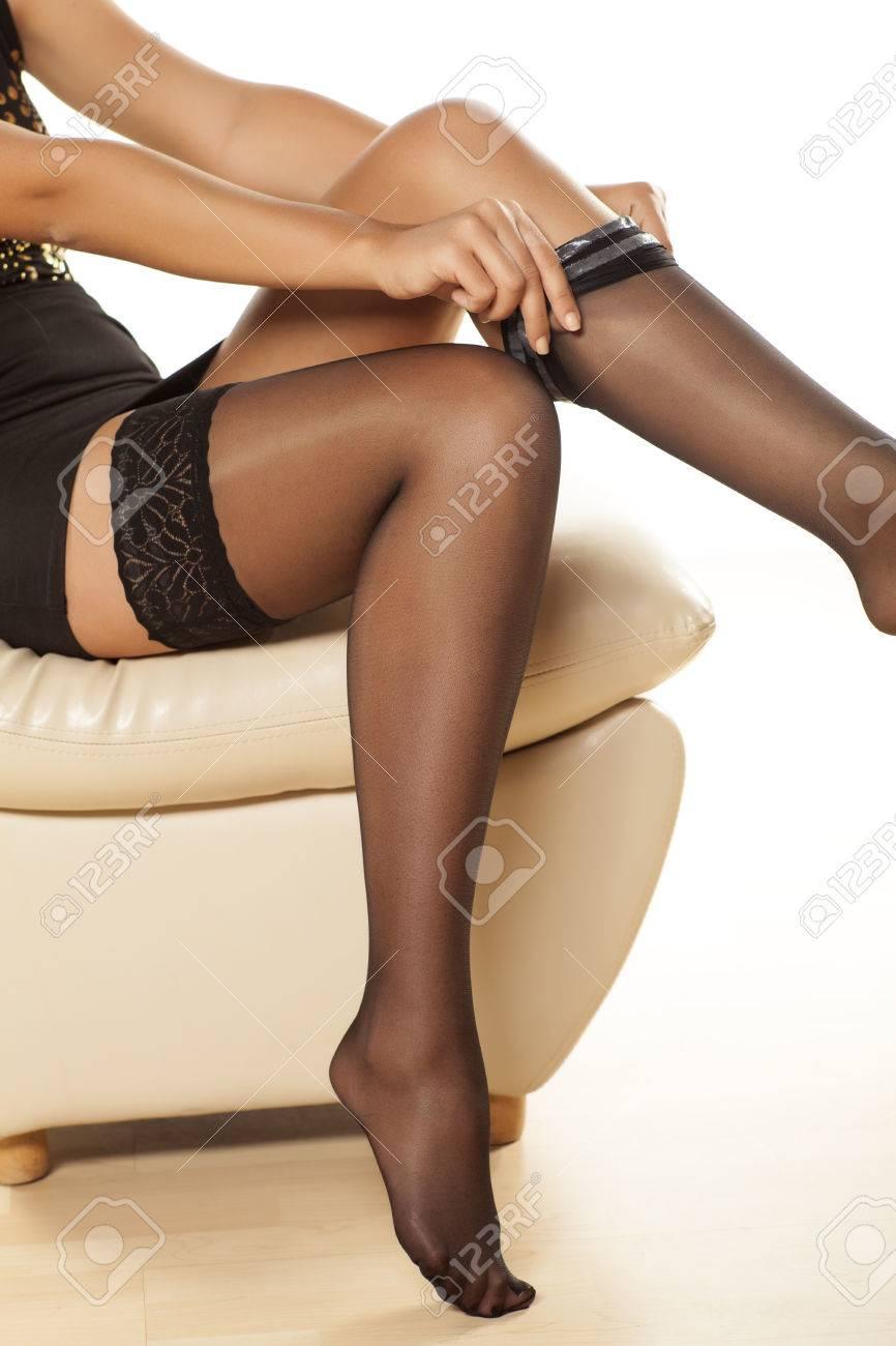 Frauen in nylonstrümpfe