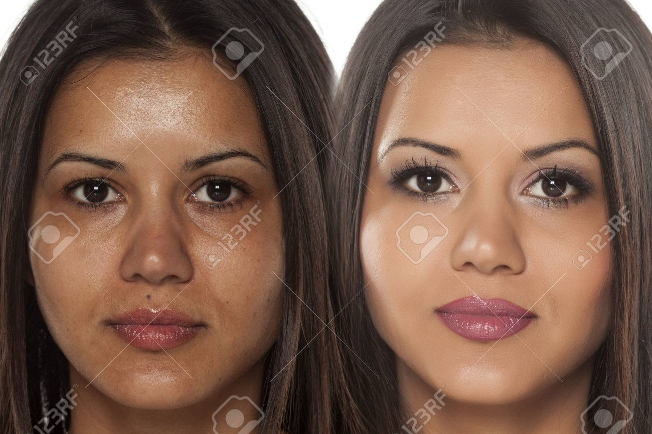 Comparison portrait of an exotic beautiful woman without and with makeup - 64790477