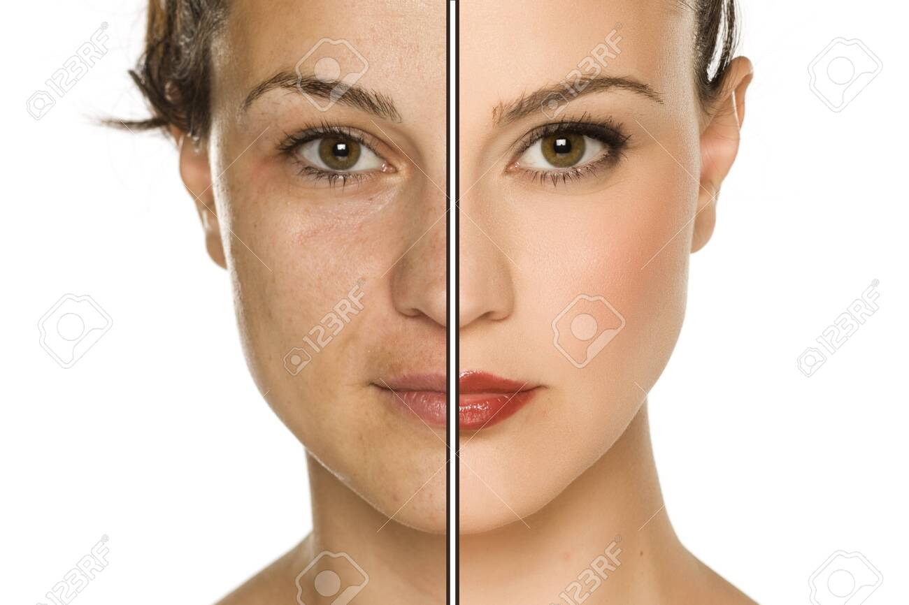 Comparison portrait of woman without and with makeup. Makeover concept. - 130544408