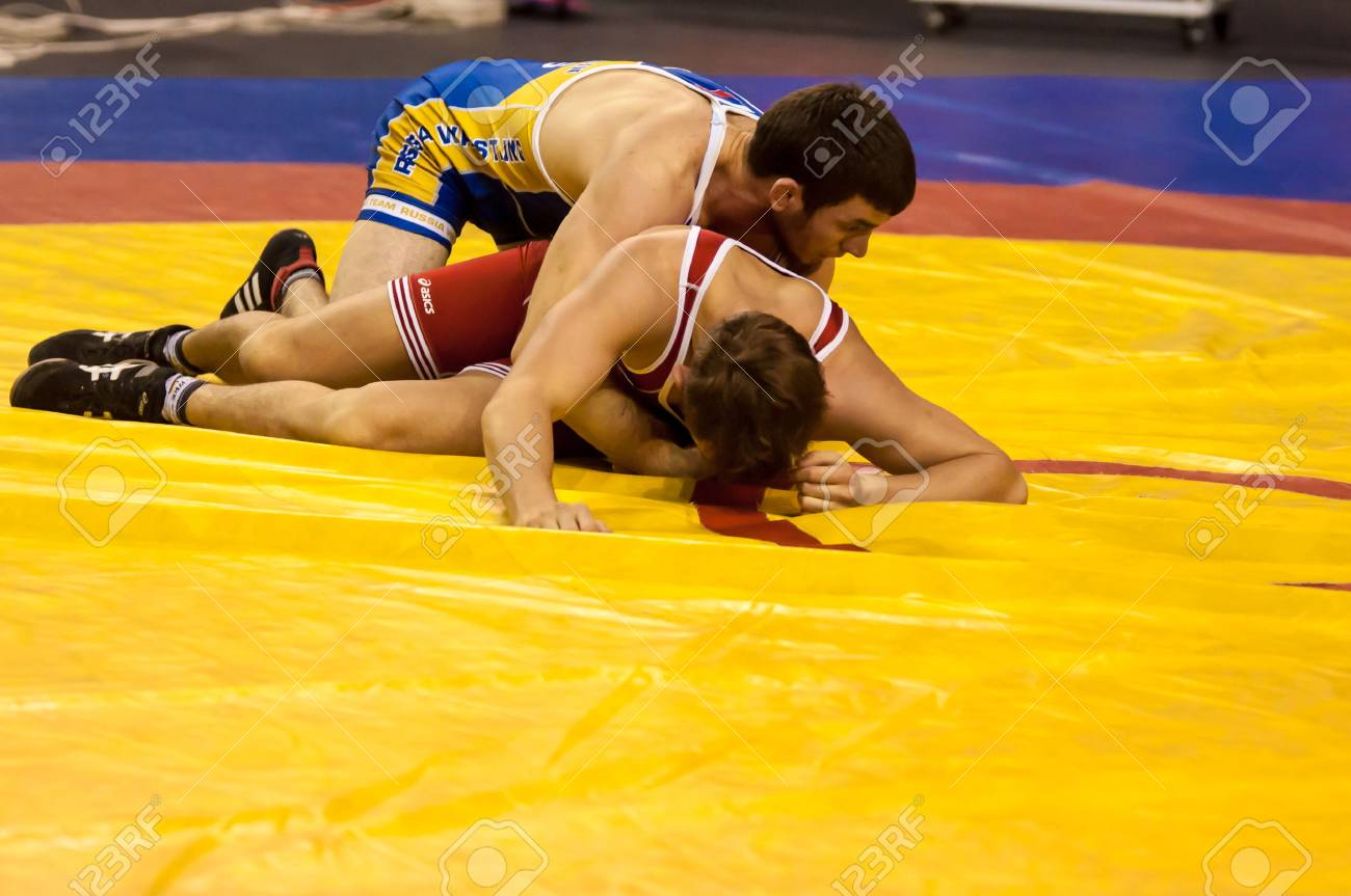 ORENBURG, ORENBURG region, RUSSIA, 30 October, 2014 year. All-Russia tournament wrestling for the prizes of the Governor of Orenburg oblast. The Duel in wrestling - 33601528