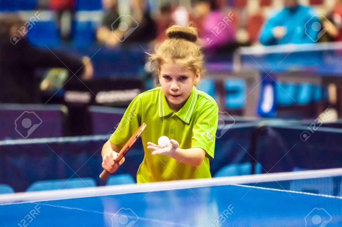 """ORENBURG, ORENBURG region, RUSSIA - 5 February 2015: Girl playing table tennis at the tournament strongest sportsmen of Russia """"TOP – 12"""" in table tennis. - 36459689"""