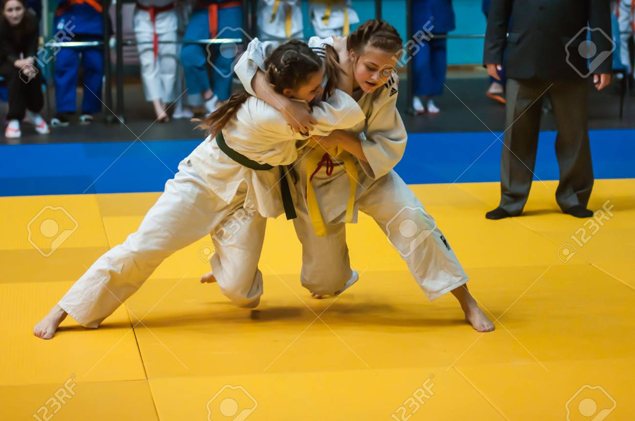Orenburg, Southern Ural, Russia - 11.04.2015: Judo competitions among girls 1999-2000 years of birth - 38598600