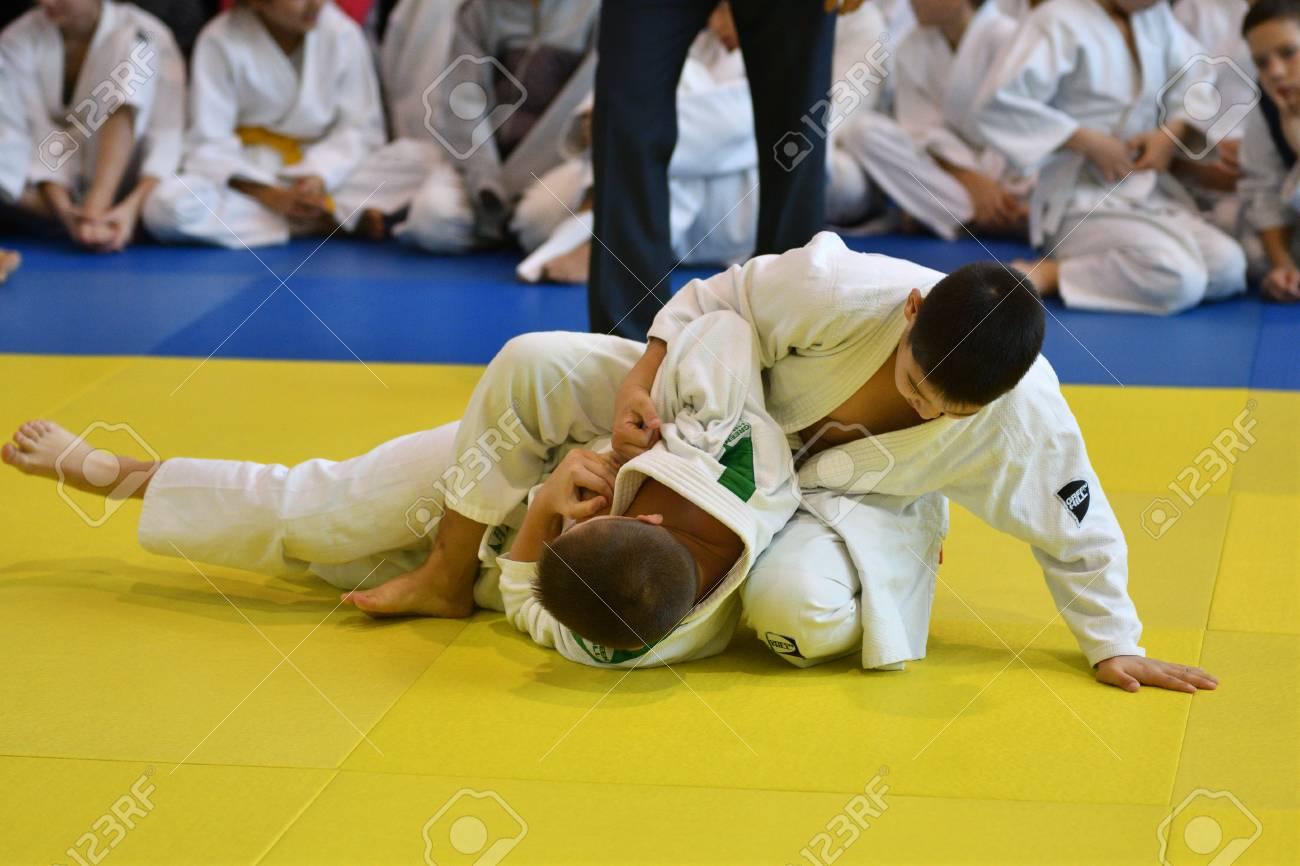 Orenburg, Russia - November 05, 2016: Boys compete in Judo on