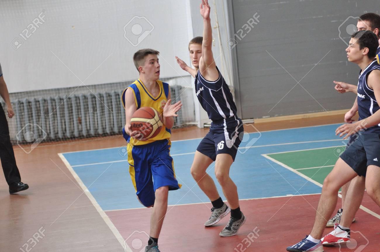 Orenburg, Russia - 15 May 2015: Boys play basketball for the Cup High School Basketball League - 72821226
