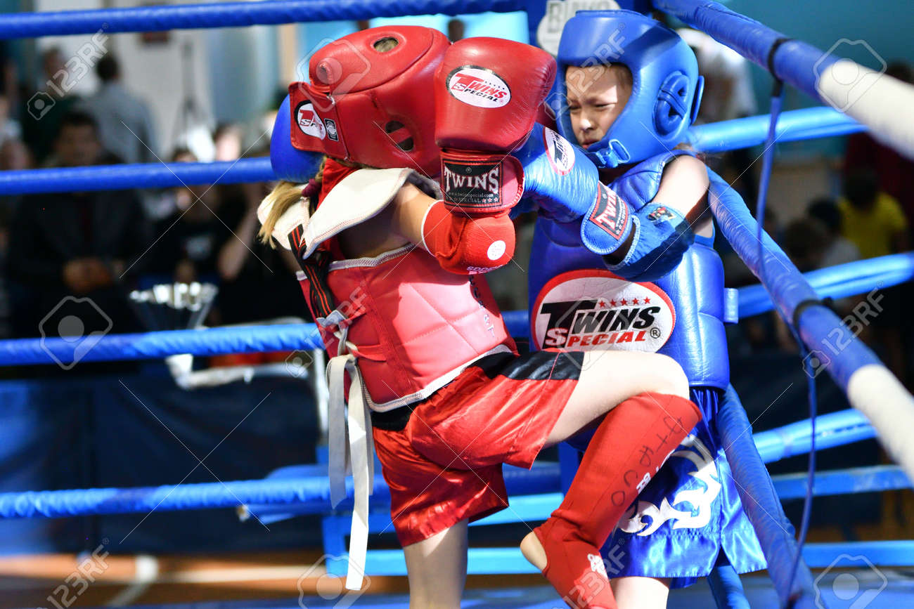 Orenburg, Russia - October 20, 2019: Girls compete in Thai boxing (Muay Thai) for the Orenburg Cup in Thai boxing - 169310533