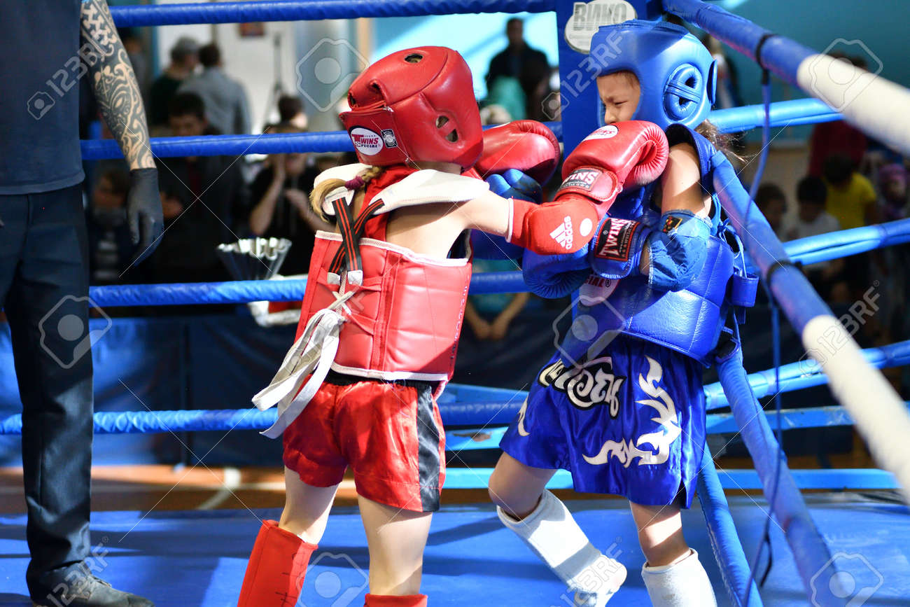 Orenburg, Russia - October 20, 2019: Girls compete in Thai boxing (Muay Thai) for the Orenburg Cup in Thai boxing - 169310540