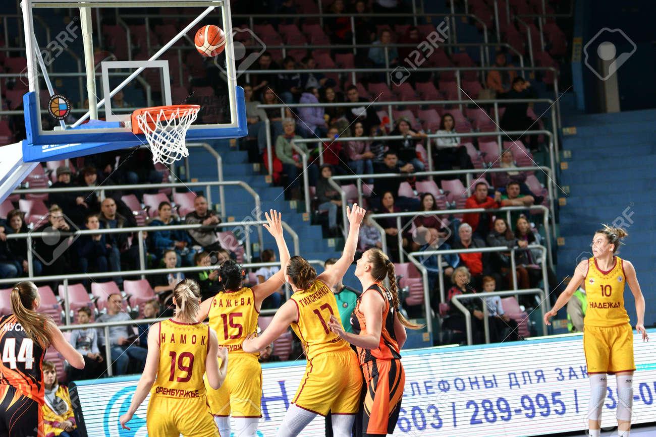 "Orenburg, Russia - November 24, 2019: Girls play basketball in the Russian championship match between the basketball clubs ""Hope"" (Orenburg) and ""UMMC"" (Ekaterinburg) - 169310576"