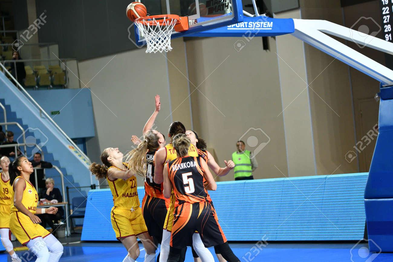 "Orenburg, Russia - November 24, 2019: Girls play basketball in the Russian championship match between the basketball clubs ""Hope"" (Orenburg) and ""UMMC"" (Ekaterinburg) - 169310573"