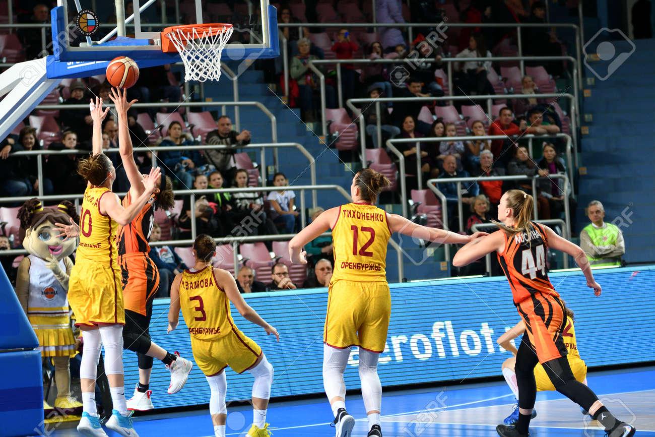 "Orenburg, Russia - November 24, 2019: Girls play basketball in the Russian championship match between the basketball clubs ""Hope"" (Orenburg) and ""UMMC"" (Ekaterinburg) - 169310580"