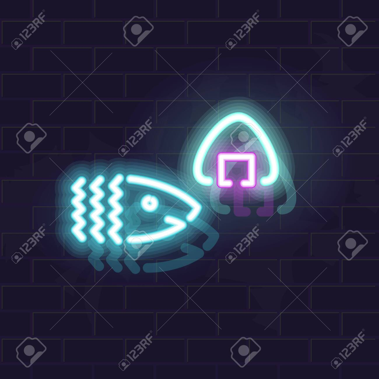 Neon tuna of salmon onigiri silhouette. Traditional japanese snack. Glowing vector illustration on brick wall background. - 138926022