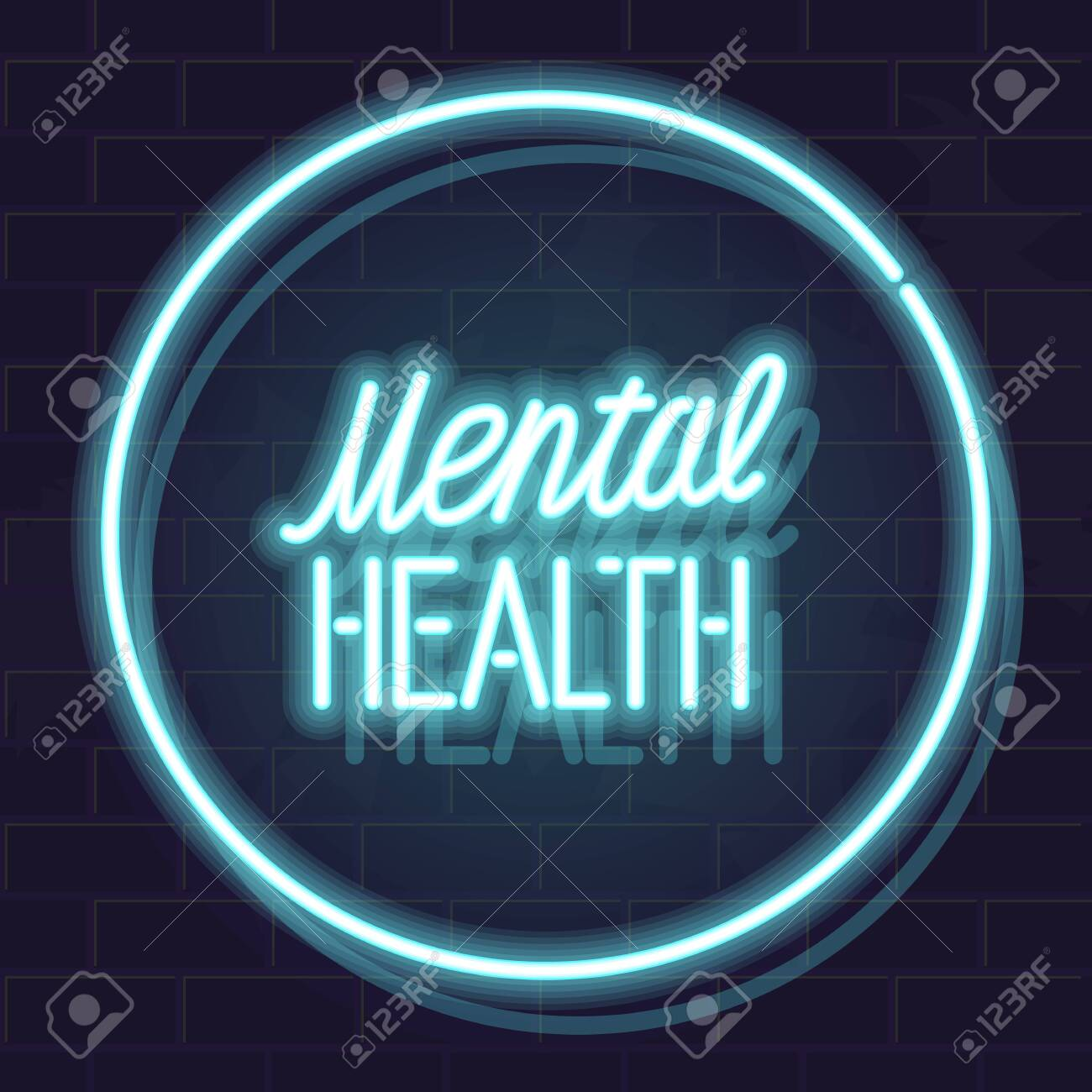 Mental Health Typography In Neon Circle Isolated Vector Glowing Royalty Free Cliparts Vectors And Stock Illustration Image 139888257
