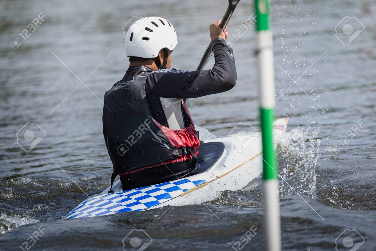 Kayak Racer Goes Towards Finish Line During Competition Europe Stock Photo