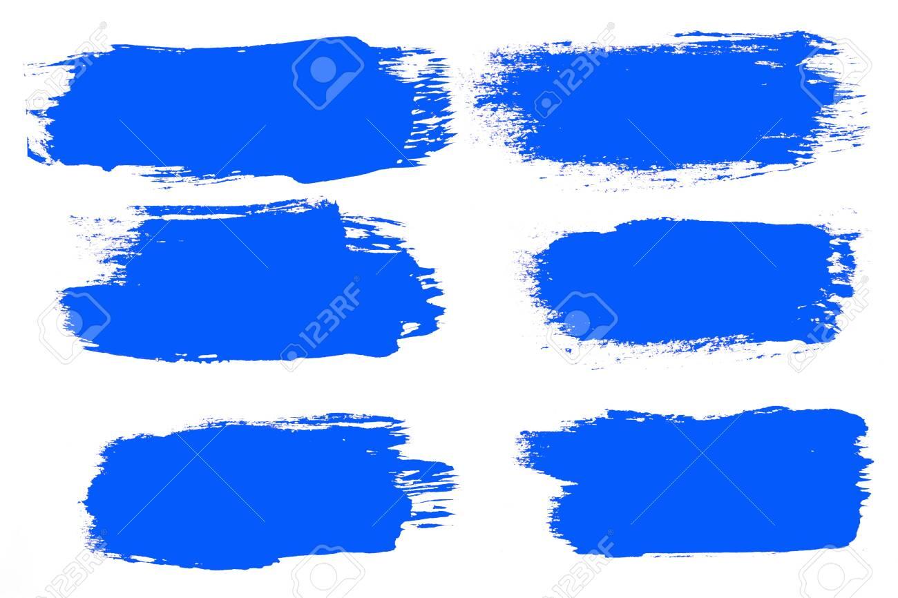 set of blue brush strokes isolated on a white background. designer brush - 150519750