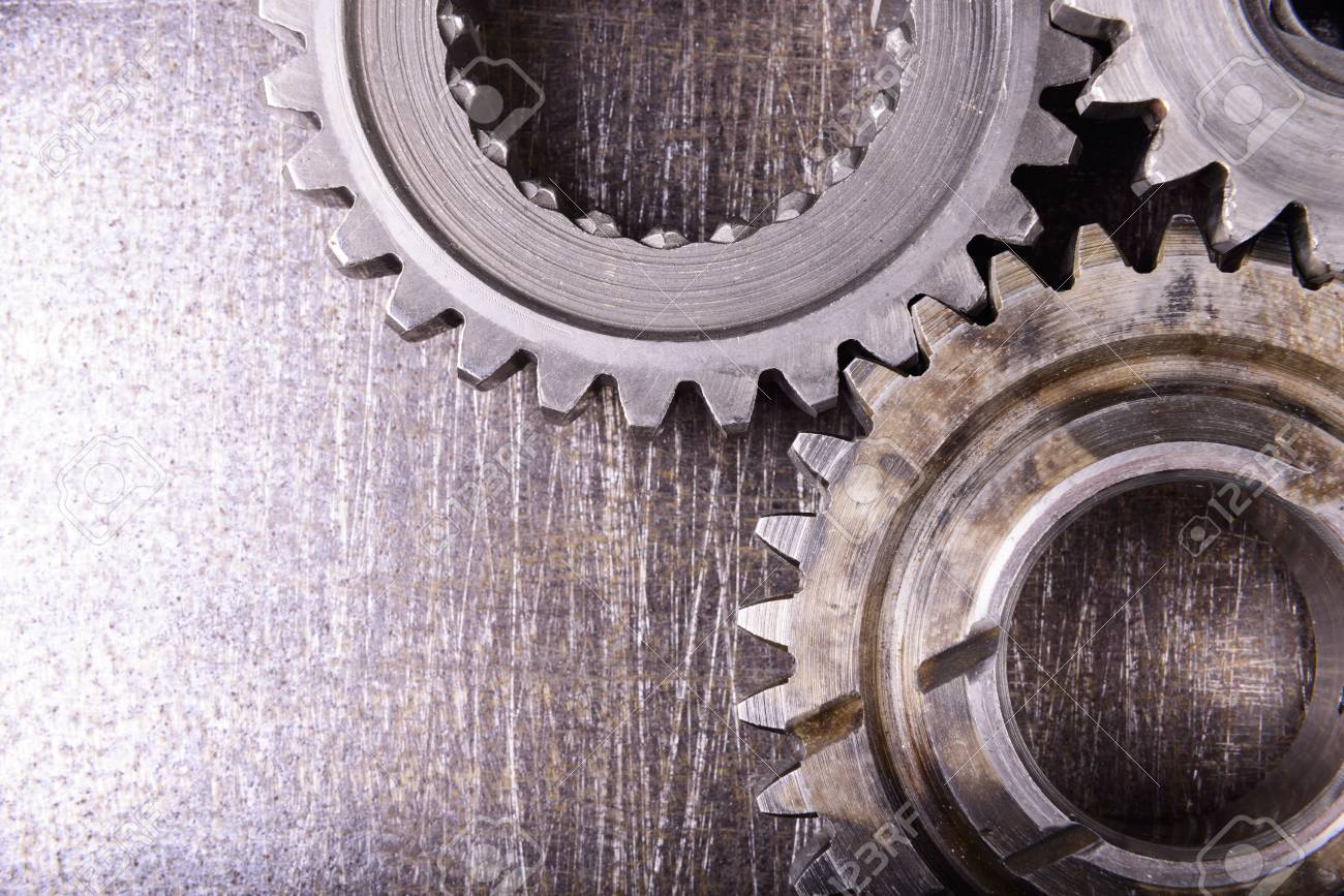 gears on metal background - 40987808