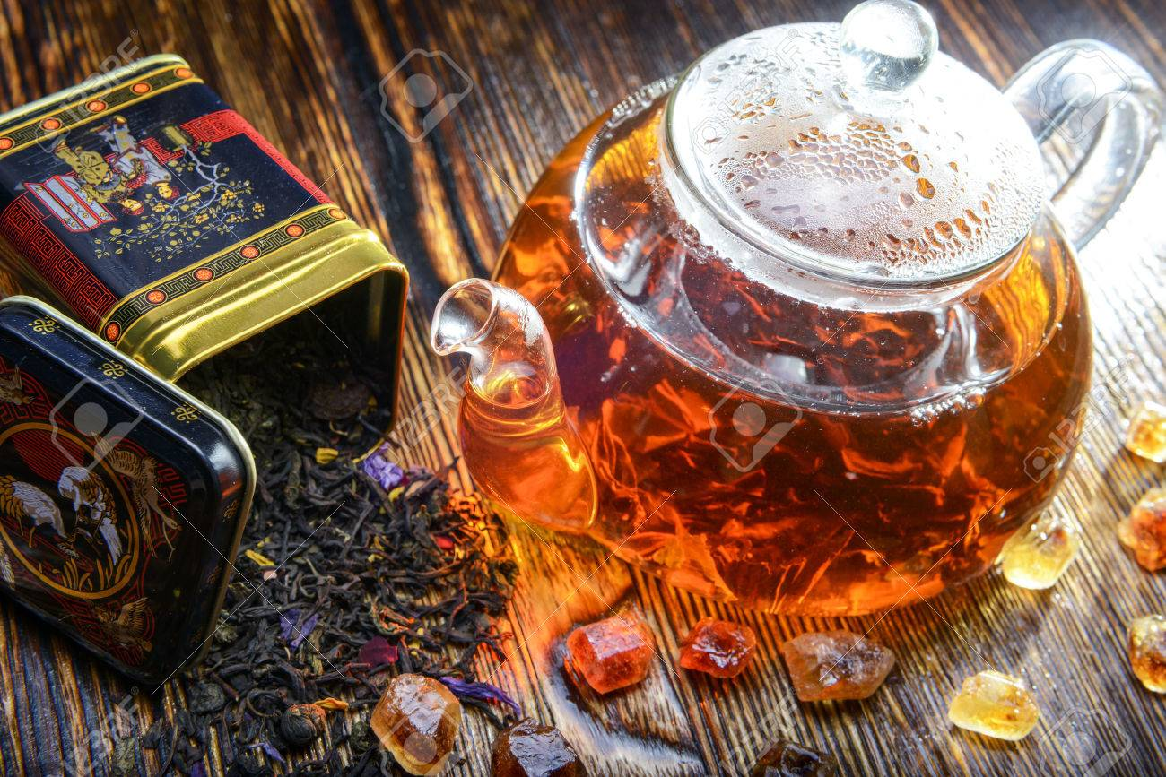 tea composition on a wooden background - 41130010