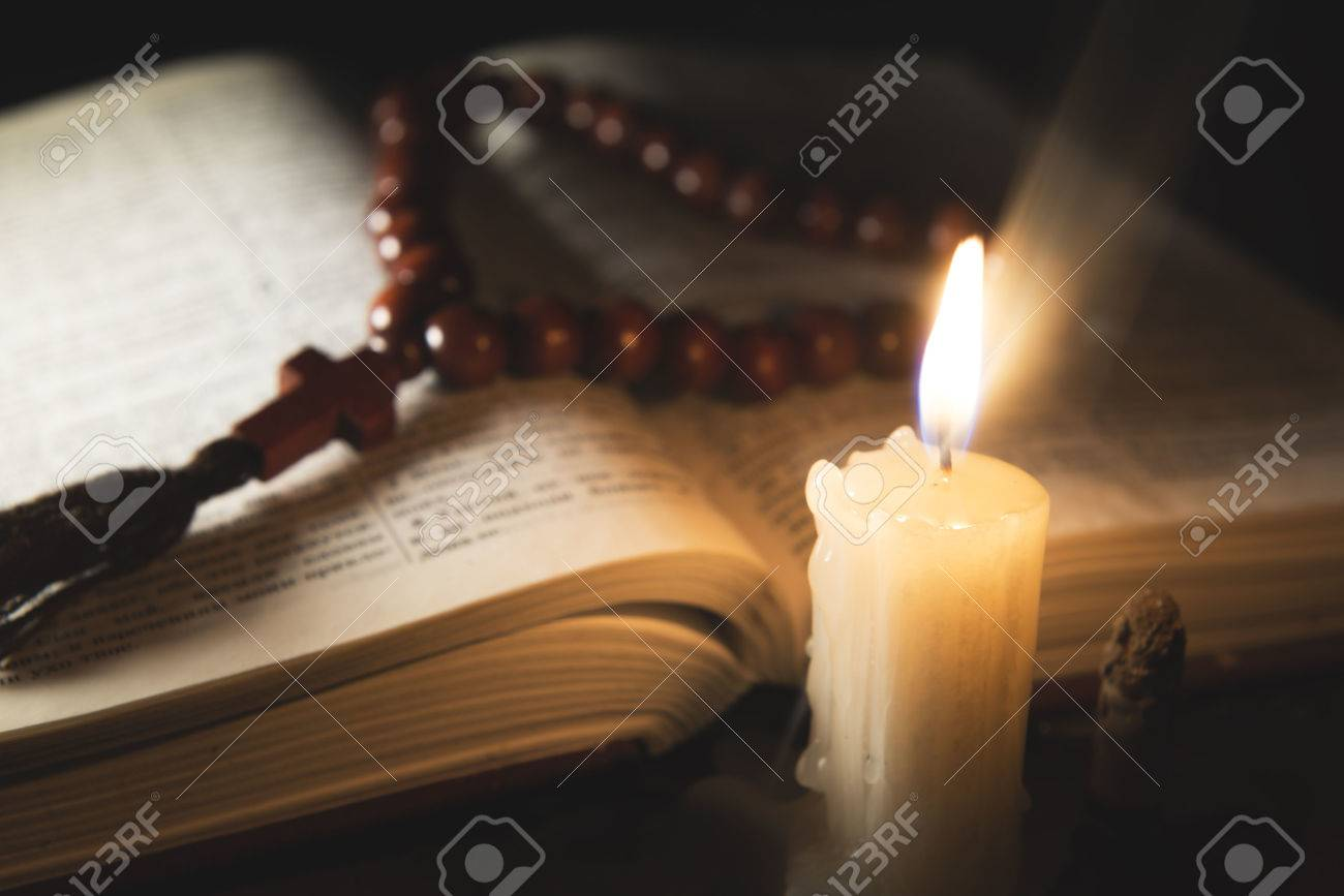 candle with incense and holy book - 46808424