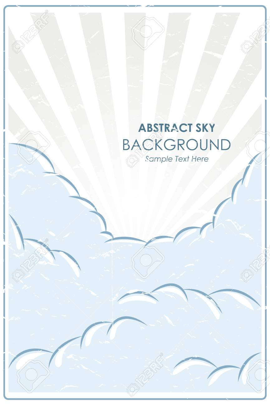 Abstract retro poster with a blue sky background - 54148101