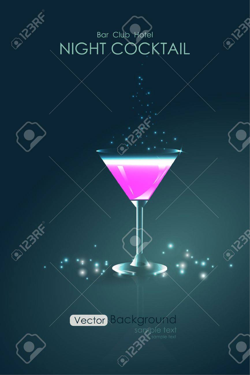 Pink cocktail in a glass goblet background - 54105860