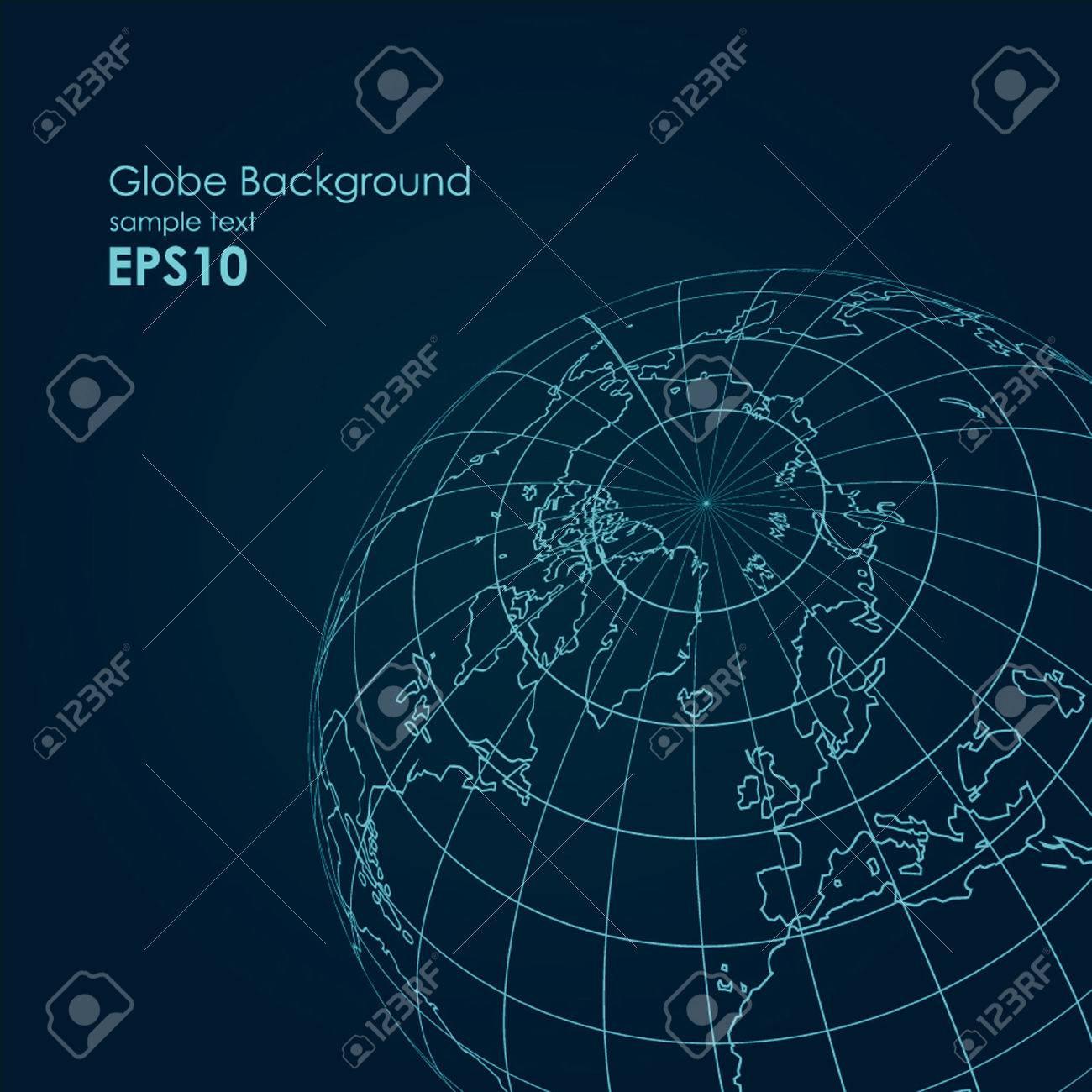Vector globe earth line modern design background - 54647403