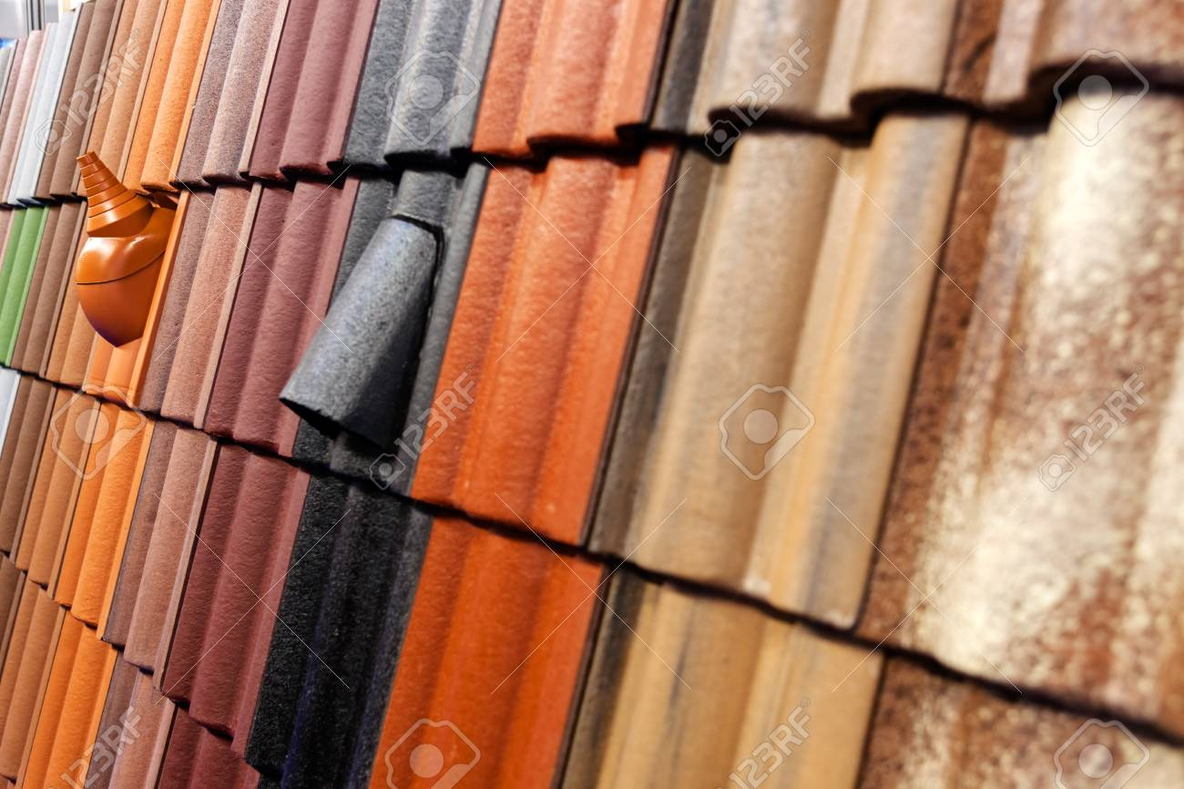 Pattern Detail Of Orange Ceramic Roof Tiles Stock Photo Picture And