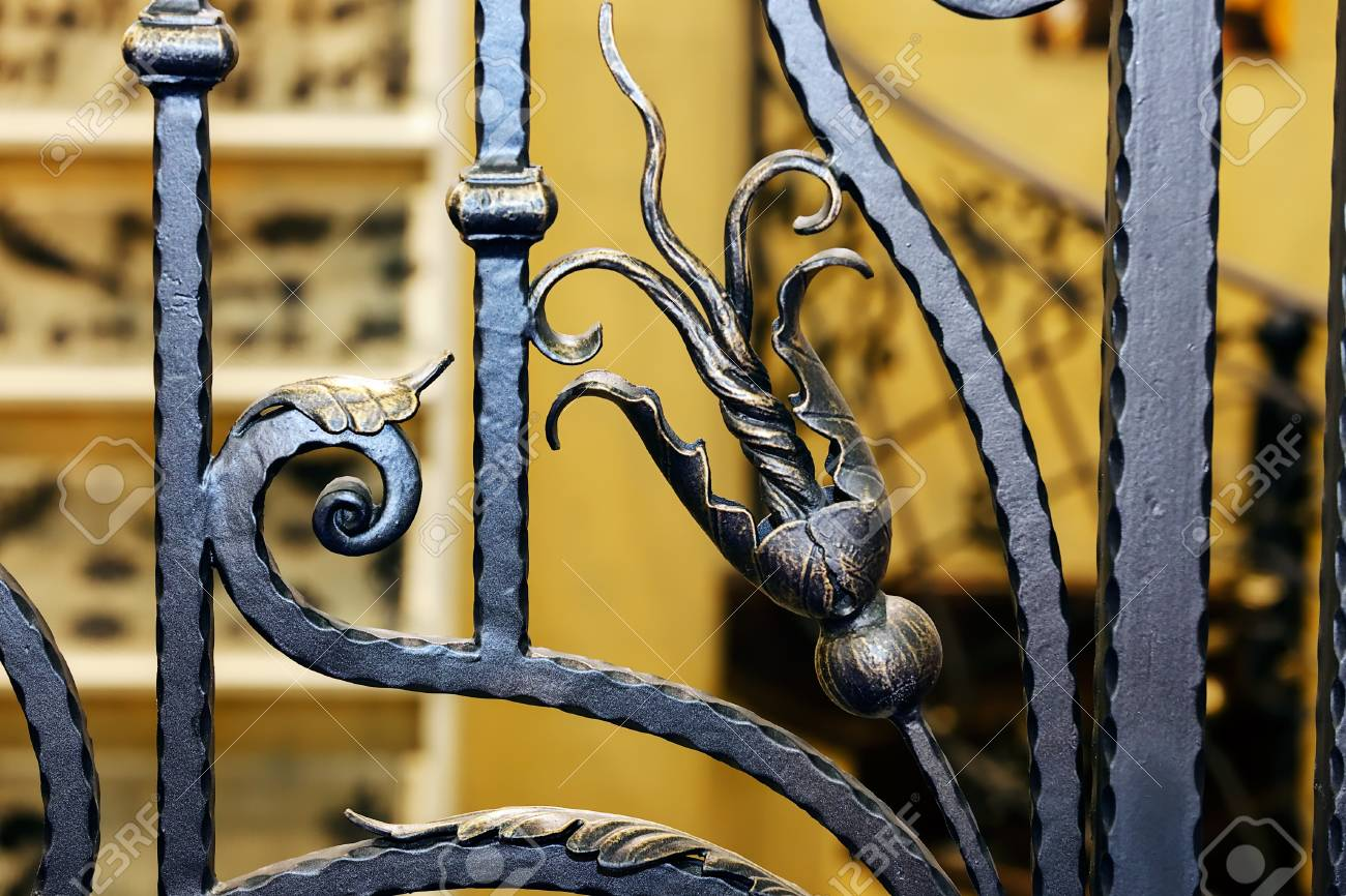 Details, Structure And Ornaments Of Wrought Iron Fence With Gate ...