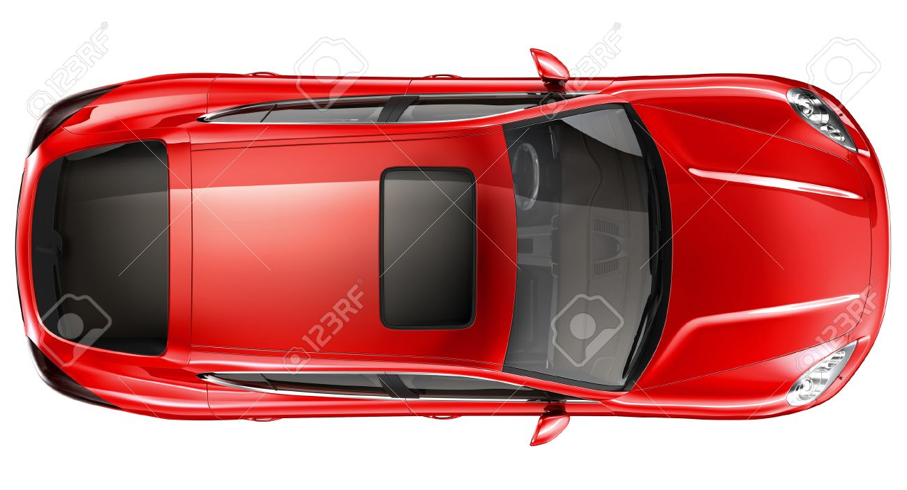 Red Sports Car Top View Stock Photo Picture And Royalty Free