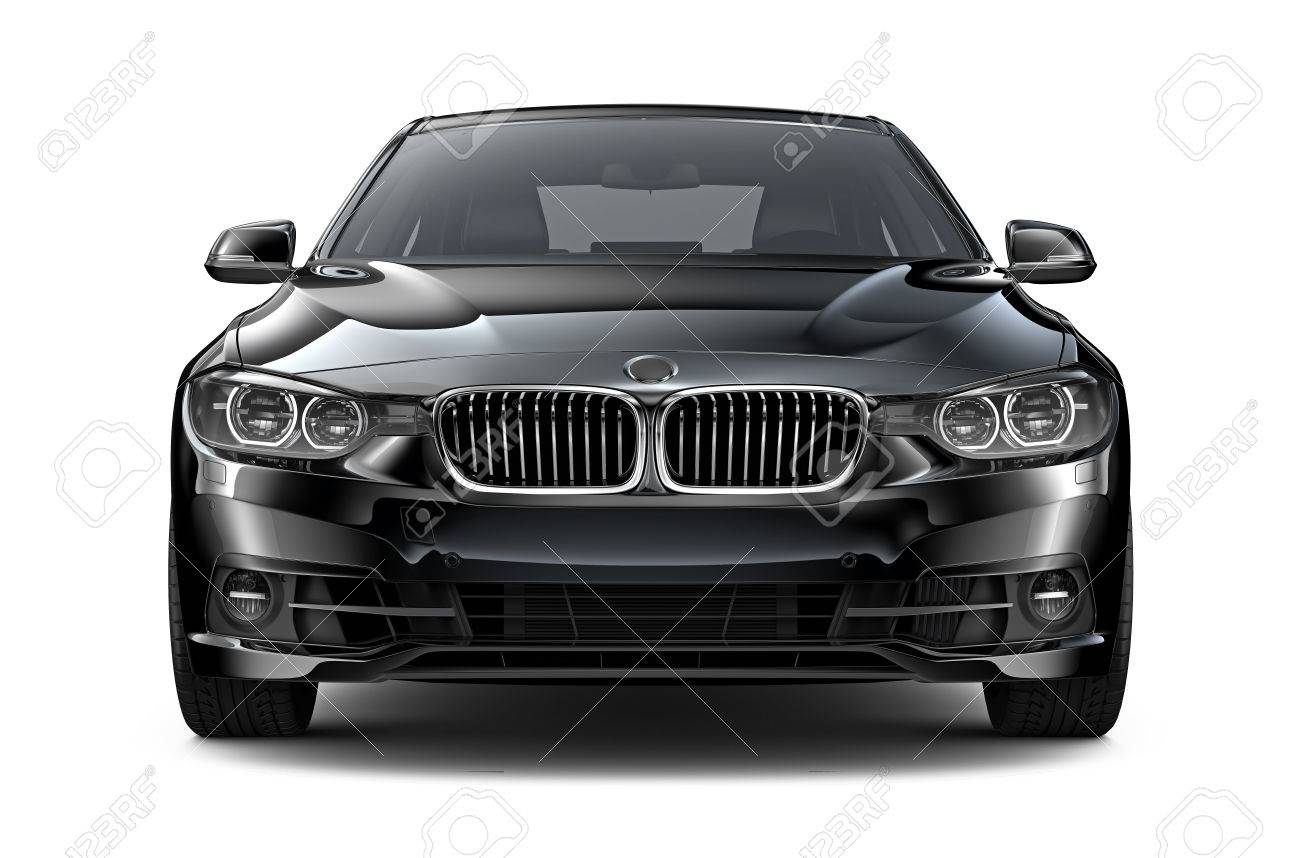 Black Executive Car Front View Stock Photo Picture And Royalty