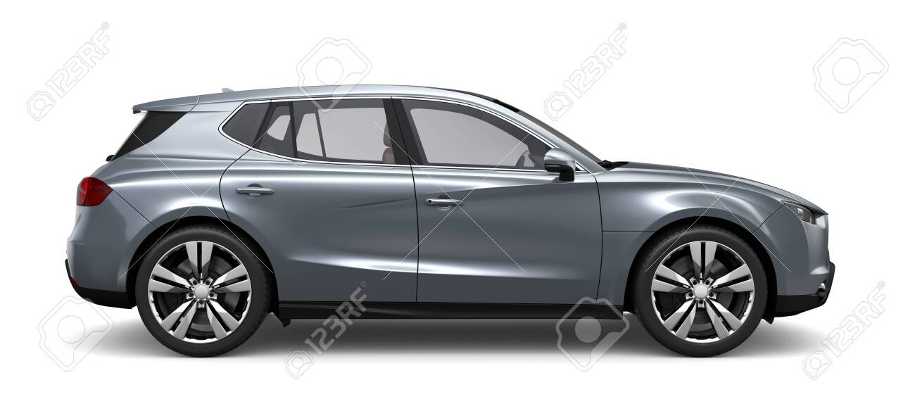 Compact silver SUV - side view - 133969834