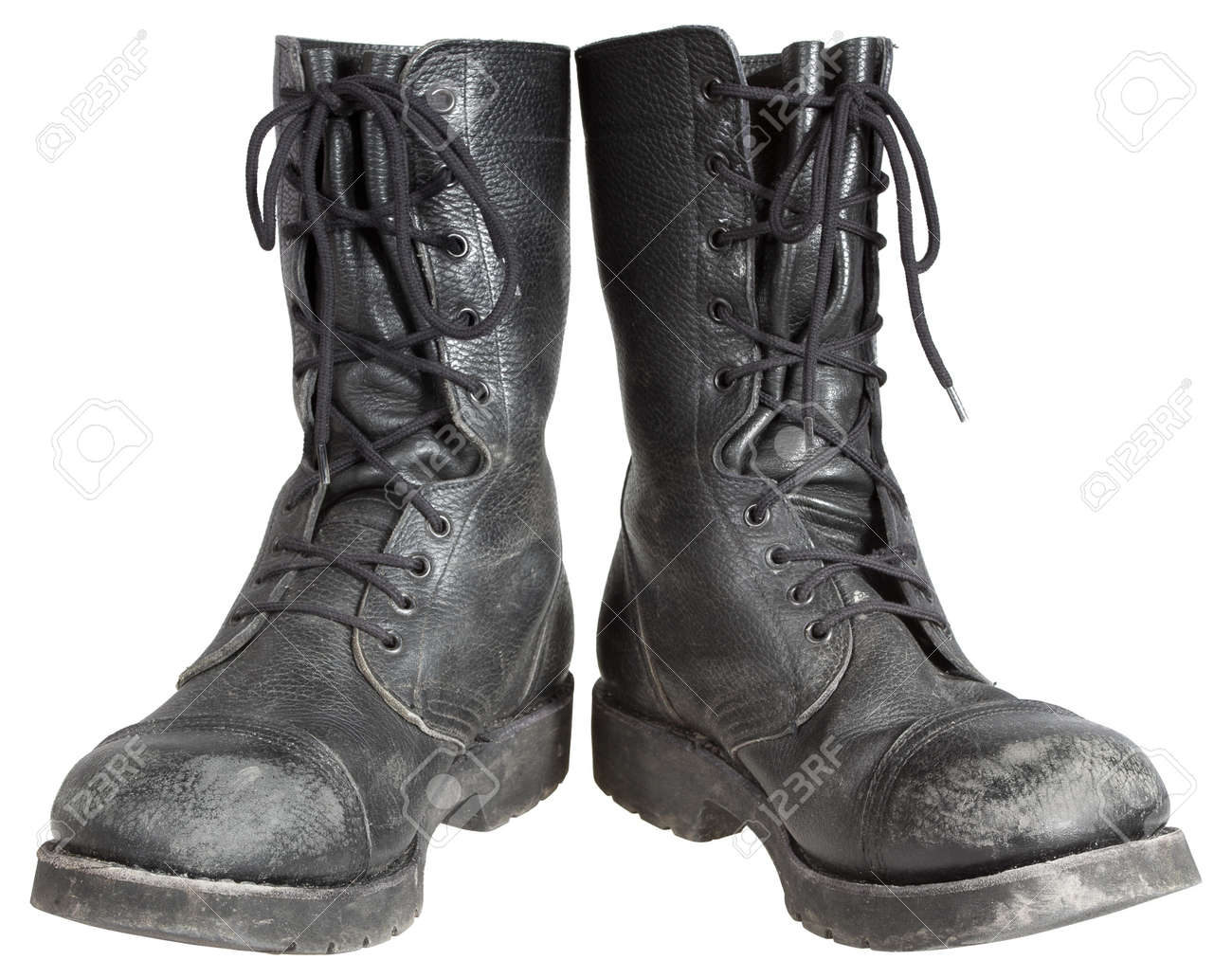 c9d8c2a57c4 Used Military Boots Isolated On White Background Stock Photo ...