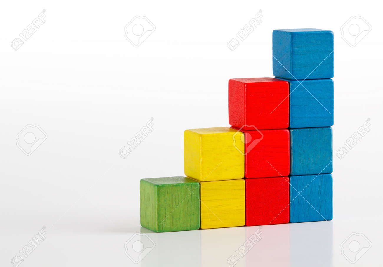 Stock Photo   Toys Blocks As Step Stair, Multicolor Wooden Ladder Building  Bricks Over White