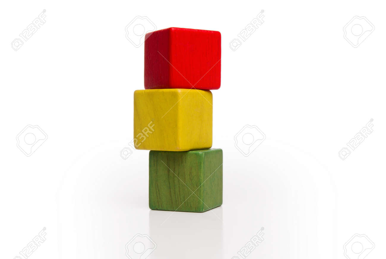 toy wooden blocks stack, tower of blank multicolor box cube over..