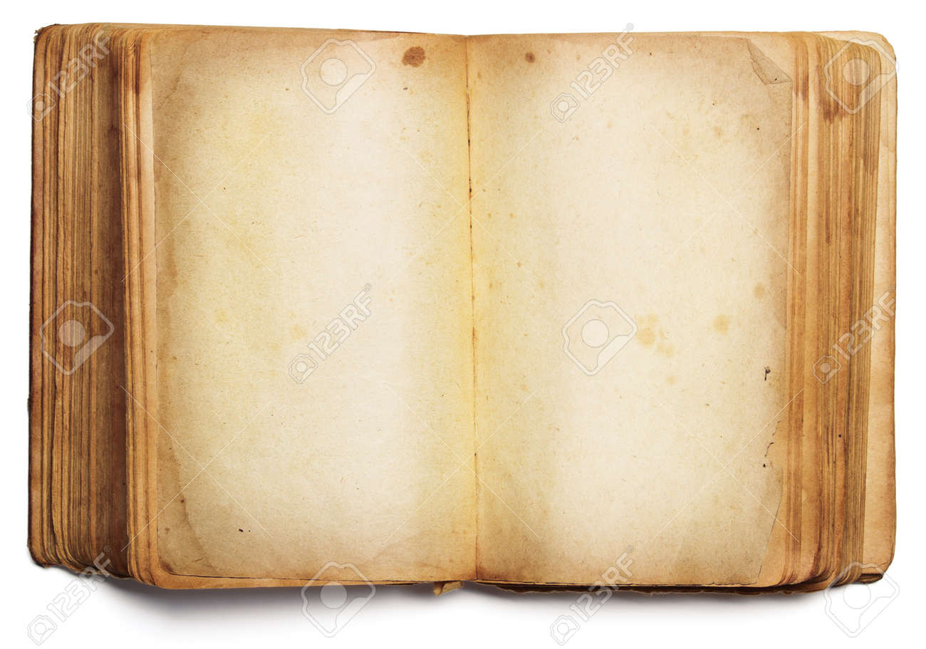 Vieux Livre De Pages Blanches Ouvertes Papier Jaune Vide Isole Sur Fond Blanc