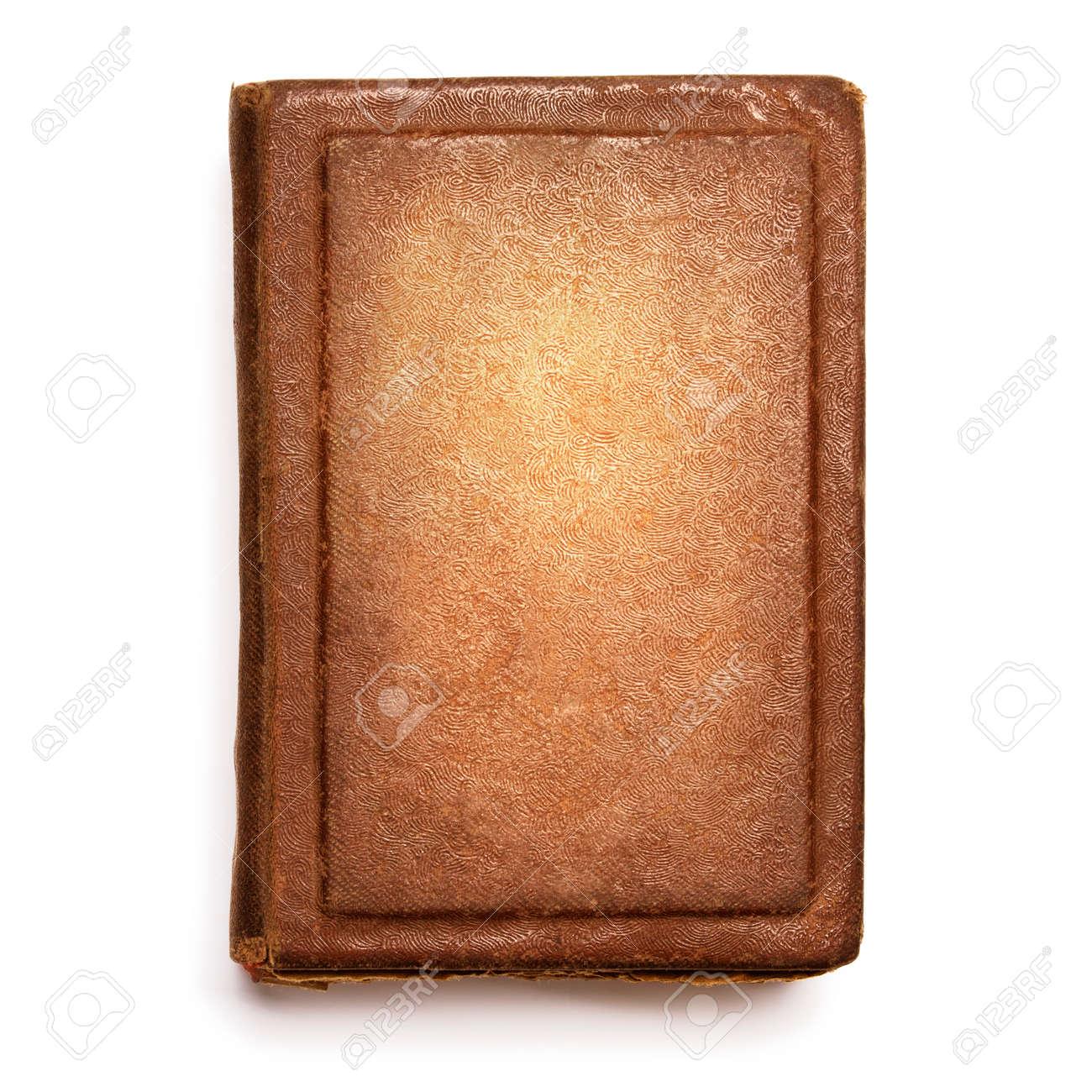Couverture De Livre Old Books Texture En Cuir Housses Avant Isole Sur Blanc
