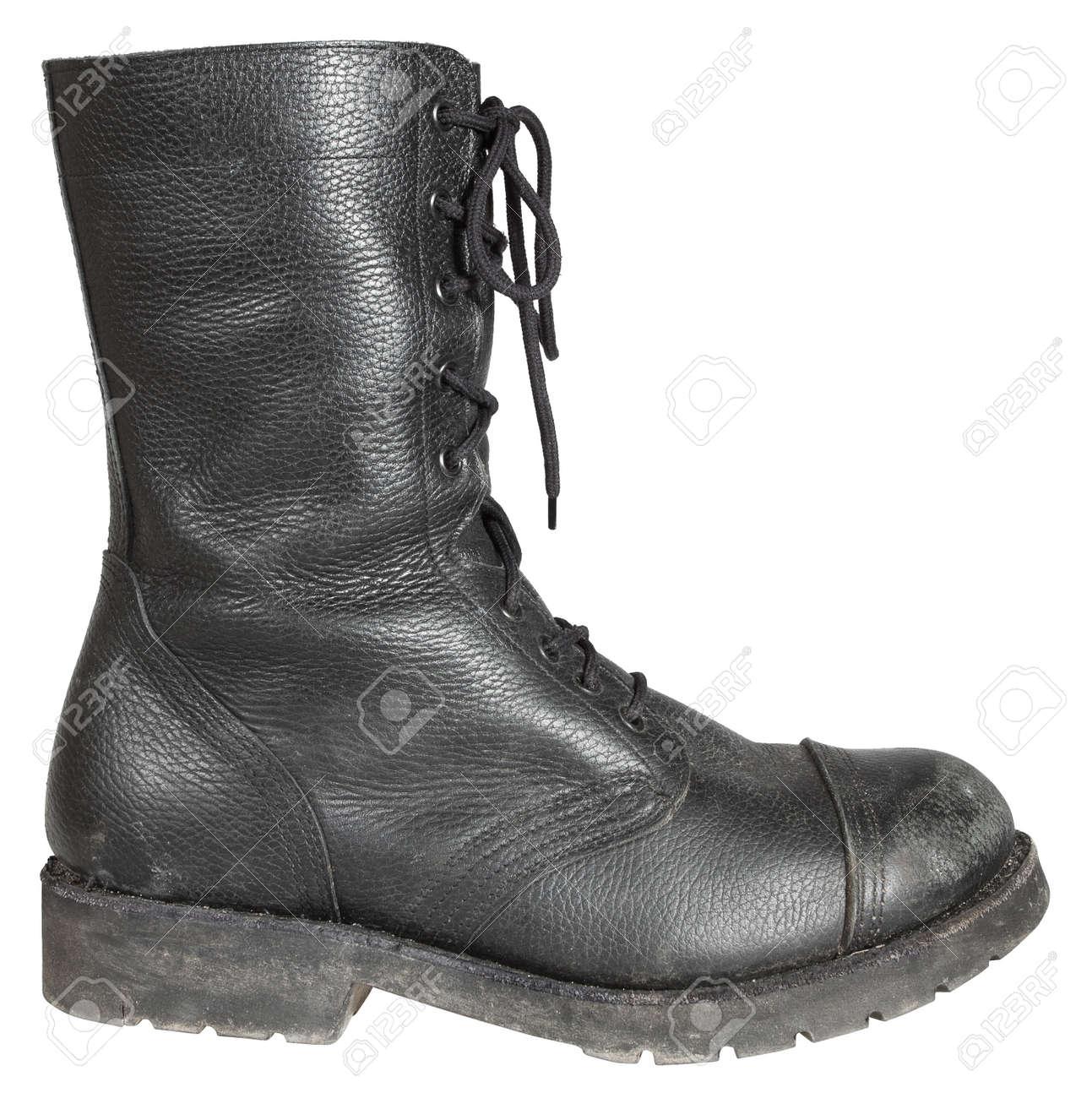 Militar Utilizado Del Aisladas Blanco Soldado Cuero Zapatos Las Sobre Bota Fondo De Ejército dwOp0zwxq